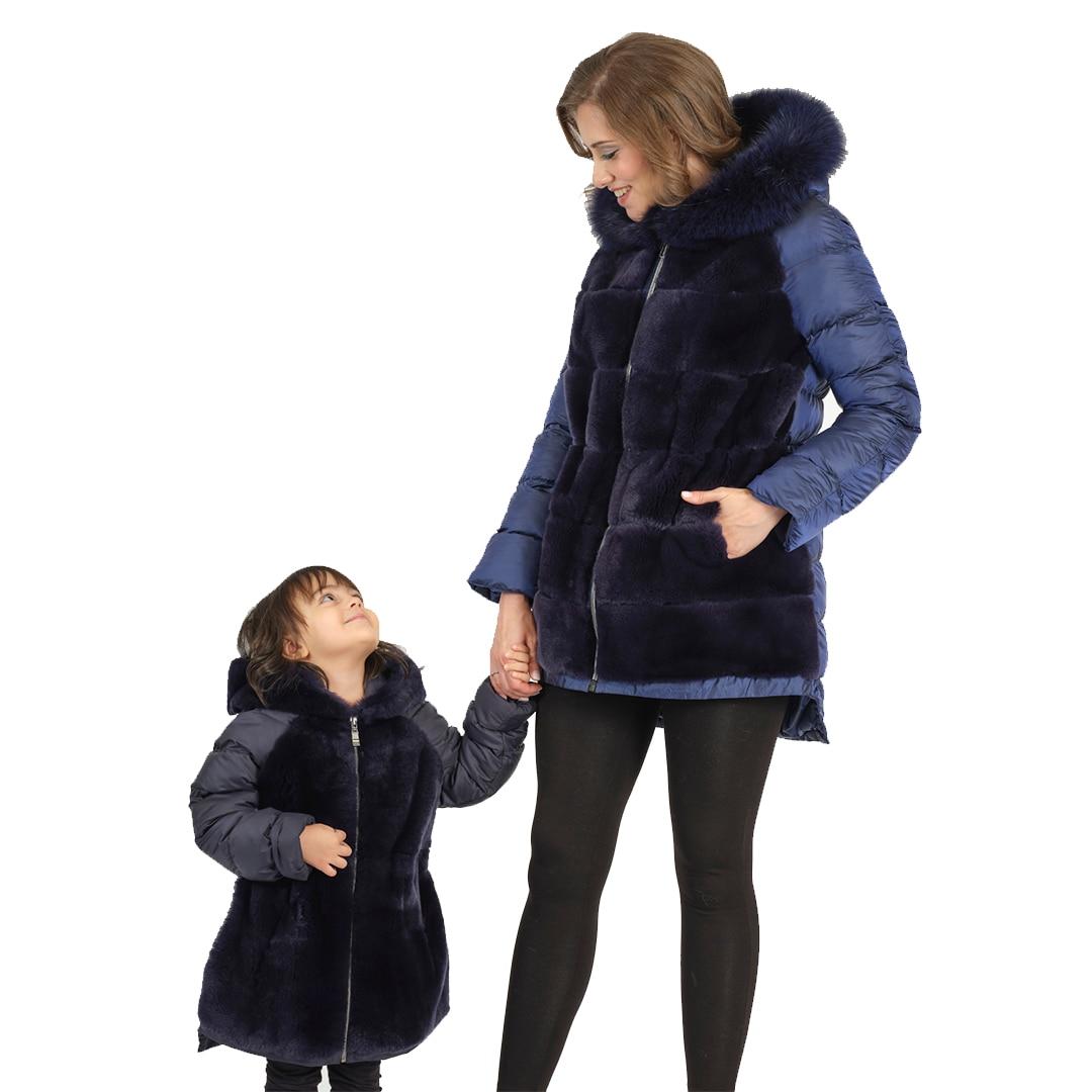 Modaqueen store mother girl kombin rex rabbit fur orylag and fox fur accessories fabric coat new season traf fashion 2021 enlarge