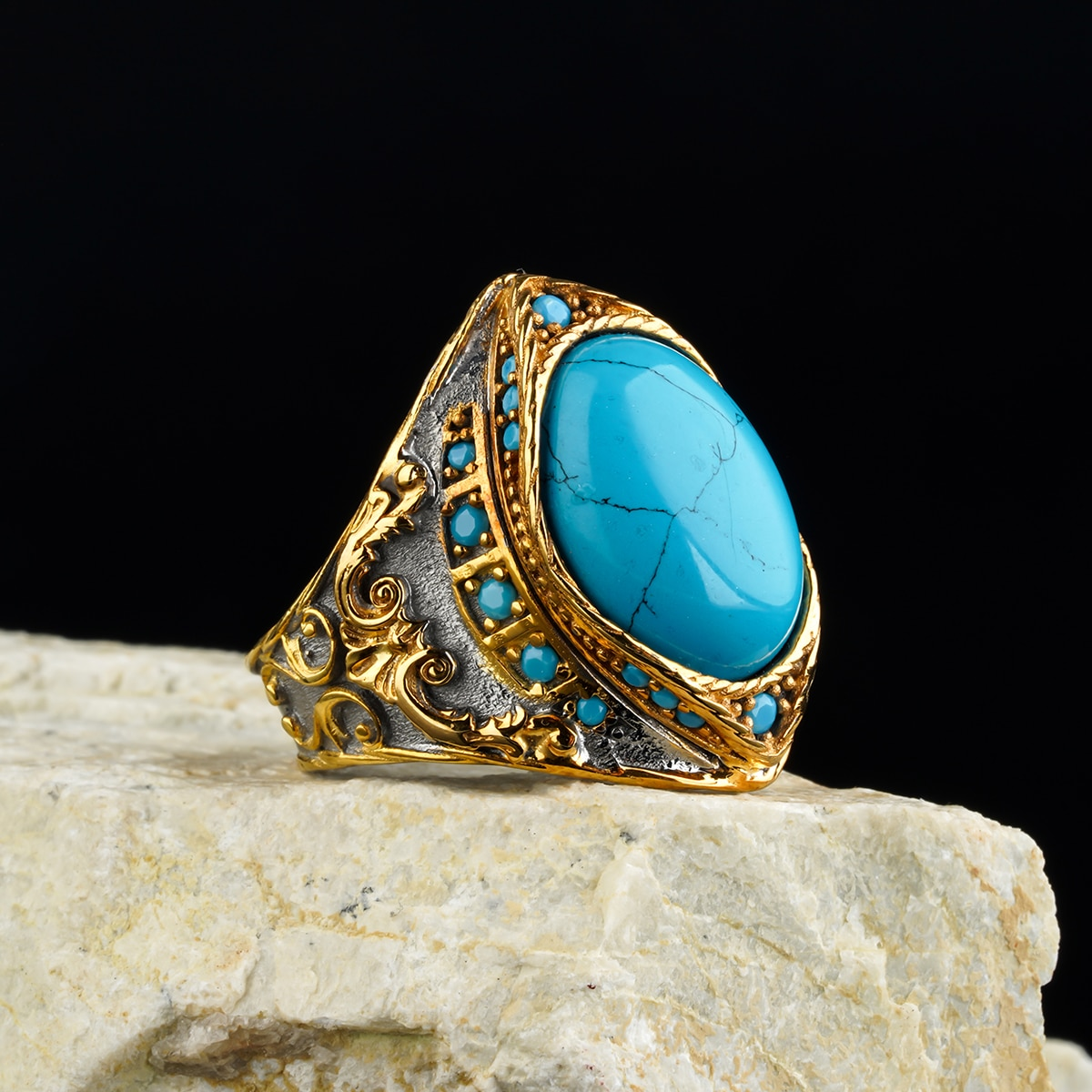 Custom Jewelry Guaranteed High-quality 925 Sterling Silver Zircon, Firuz ,Tauus Stone Rings in a luxurious way for men with gift