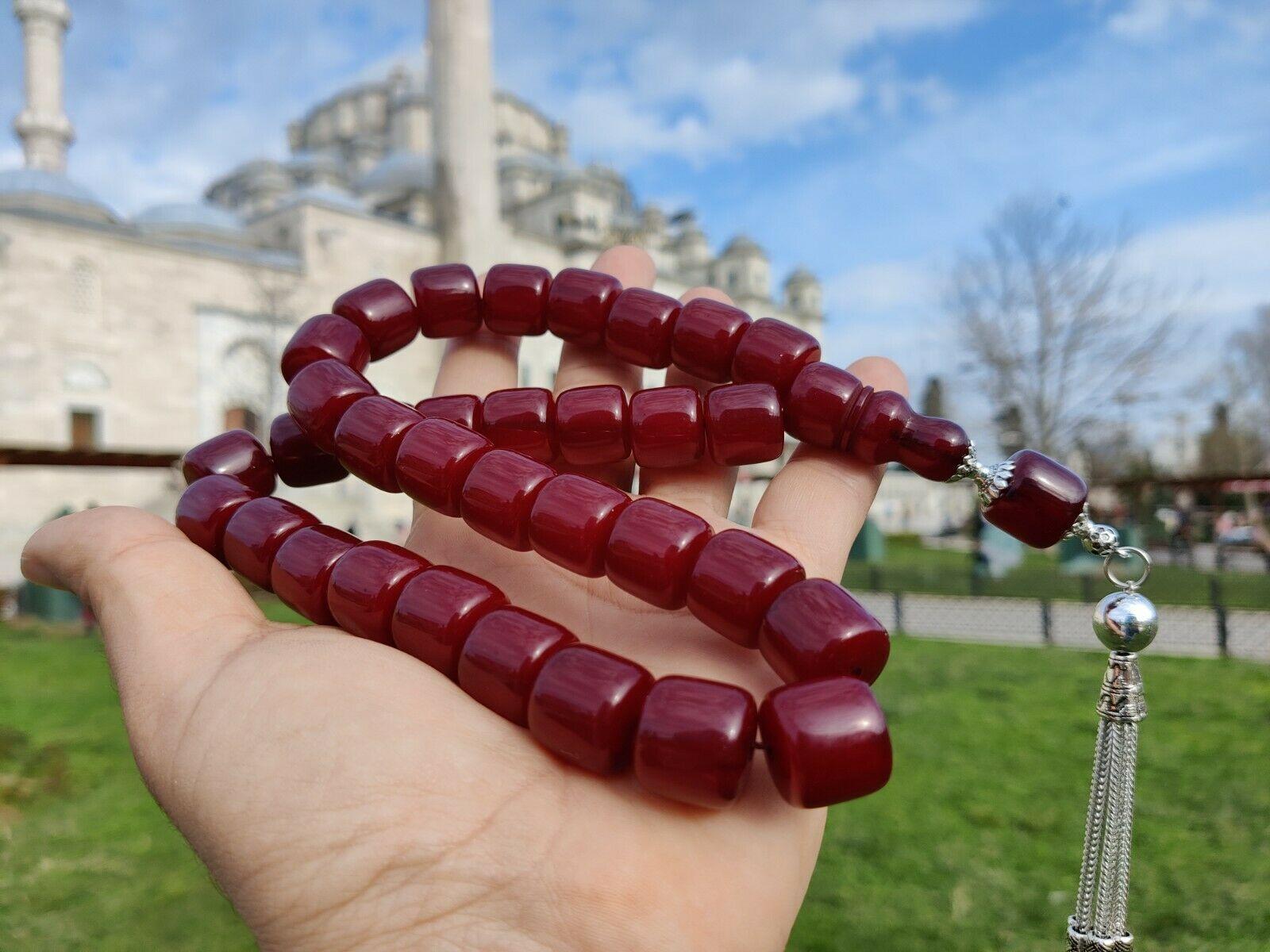 İslam Ottoman Kahraman Faturan German Cherry Amber Sandalous Misbaha Rosary Free Shipping Tasbih Tesbih İslamic Arabic Gift #47D