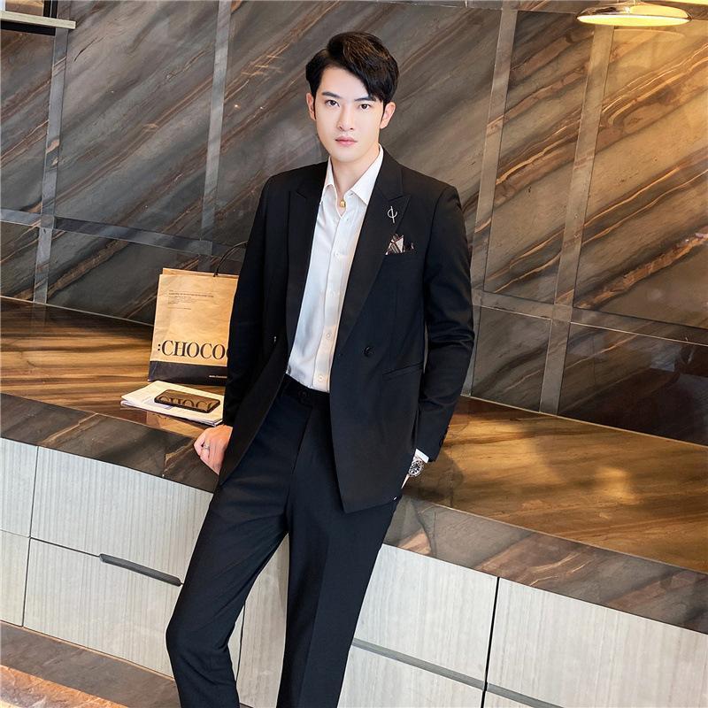 2 قطع الرجال رداء غير رسمية 2021 جديد النسخة الكورية سروال أسود رفيع وسيم العريس بدلة الزفاف قطعتين الرجال