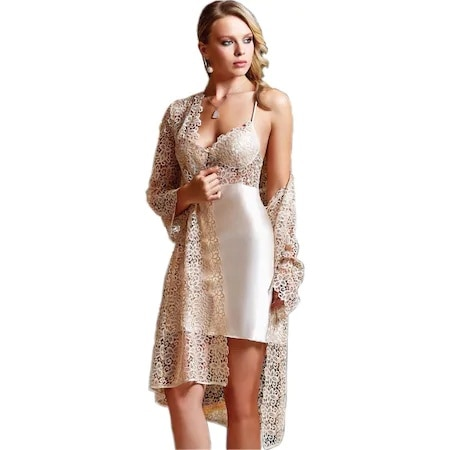 Jeremi 443 Nightgown Dressing Gown Ruched Satin 6'LI Set Dowry Suit