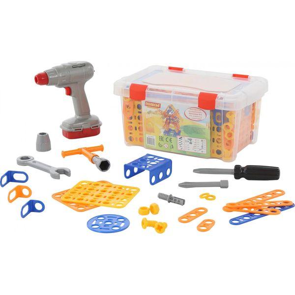 """Bloques de apilamiento Polesie Constructor  """"Inventor """",  """"Molino n. ° 2 """" (196 artículos) + destornillador (contenedor) juguetes para niños"""