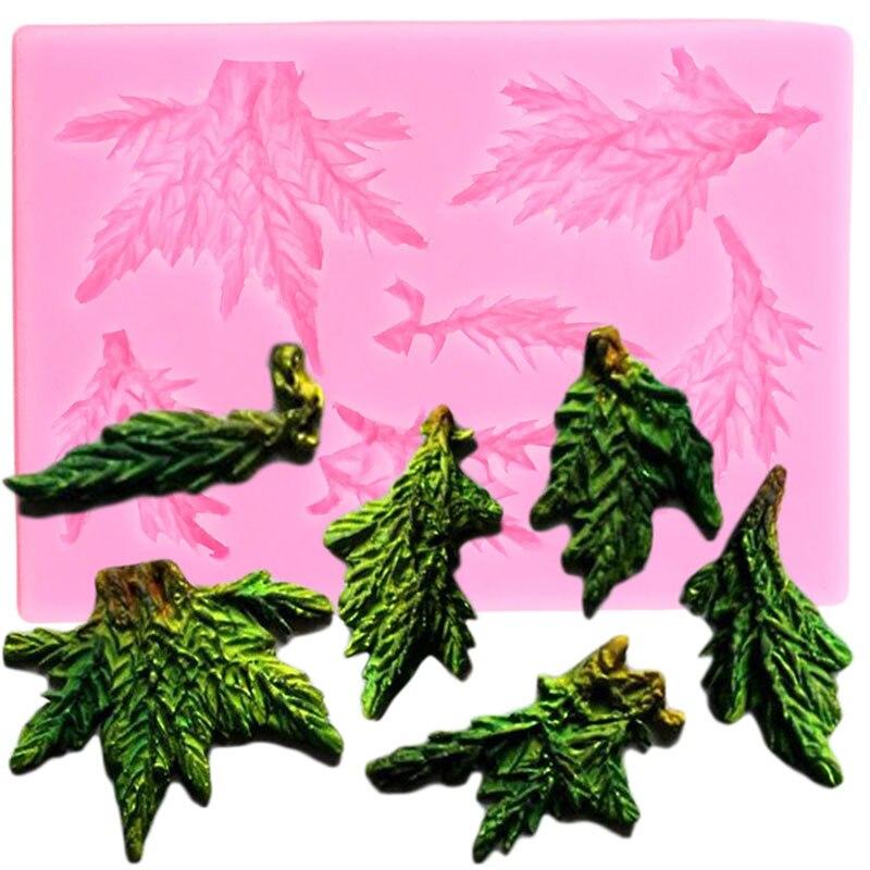 Moldes de borde de silicona para tartas de pino, hojas de Navidad, utensilios para decoración de tortas con Fondant, Cupcake, caramelo, arcilla, molde para pasta de goma y Chocolate