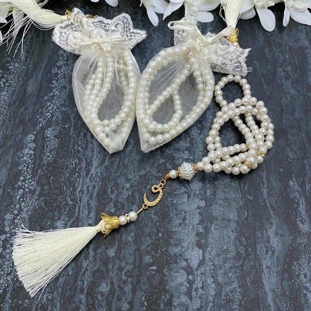 Tasbeeh 30 Pcs SET White Gold Tasbih Pearl Prayer Tesbih Islamic Wedding Henna Eid Gifts Ameen Mubarek Muslim Favors 99 Beads