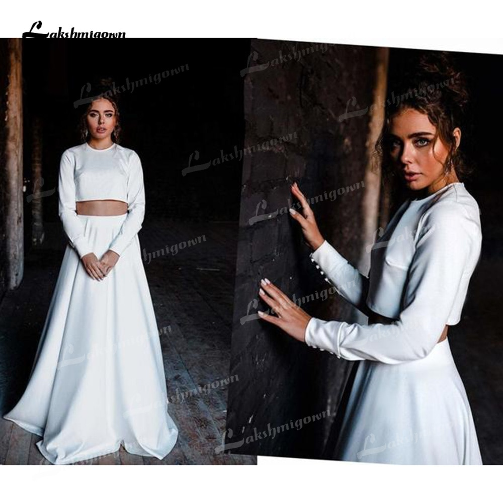 Review Tow Piece Soft Satin A-Line Wedding Dresses O-Neck Long Sleeve Back With Zipper Sweep/Brush Train Bride Gowns Pleats Elegant