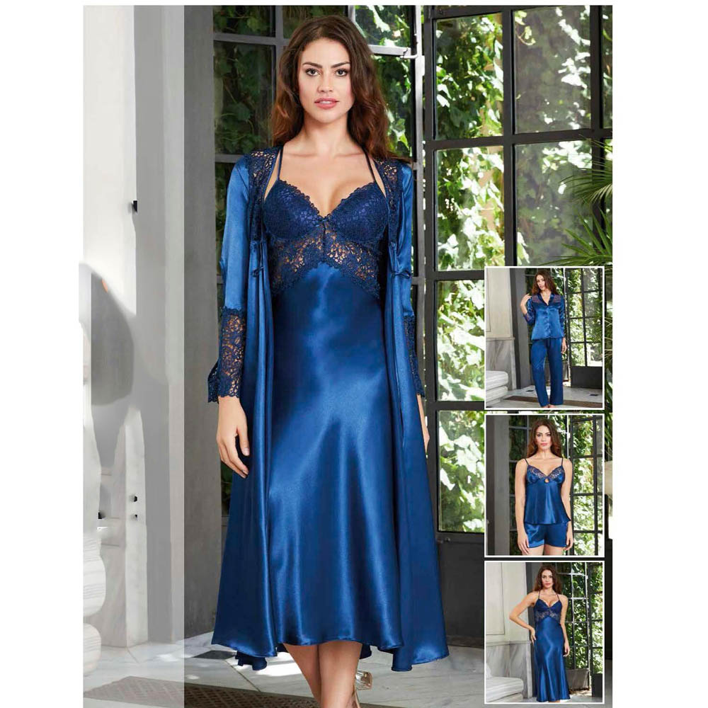Women's nightgown robe set white lace short length silk satin bra cup above knee crinkle skirt underwear wedding dowry M