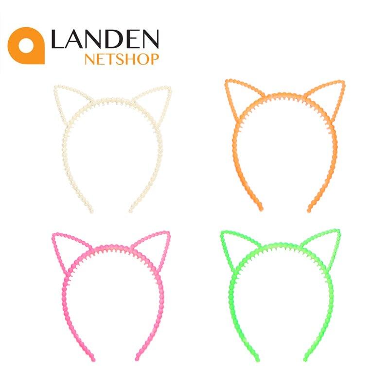 Kawaii cabeça orelhas coração minúsculas bolas gato bandana para mulher e meninas várias cores