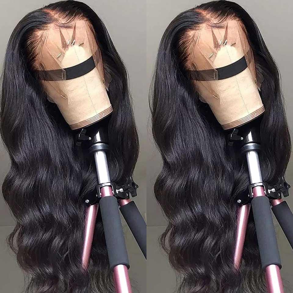 Pelucas de cabello humano con frente de encaje Peluca frontal de encaje HD transparente 180 200 Peluca de frente de encaje de densidad Remy 13x4 Peluca brasileña de onda corporal