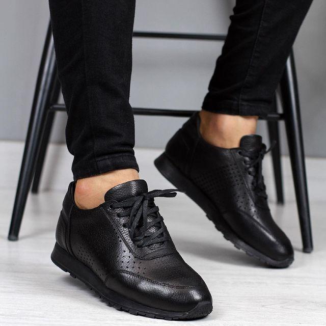جلد طبيعي حذاء رجالي أسود غير رسمي أنيق تصميم أنيق نمط جلد لينة زلة مقاومة أحذية رجل أحذية من الجلد الحقيقي عادية