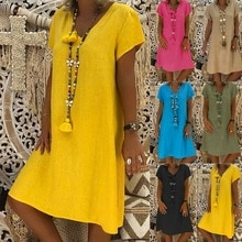 Grande taille coton lin été Dess Boho femmes Vestido coton décontracté grande taille robe de plage décontracté robe en lin