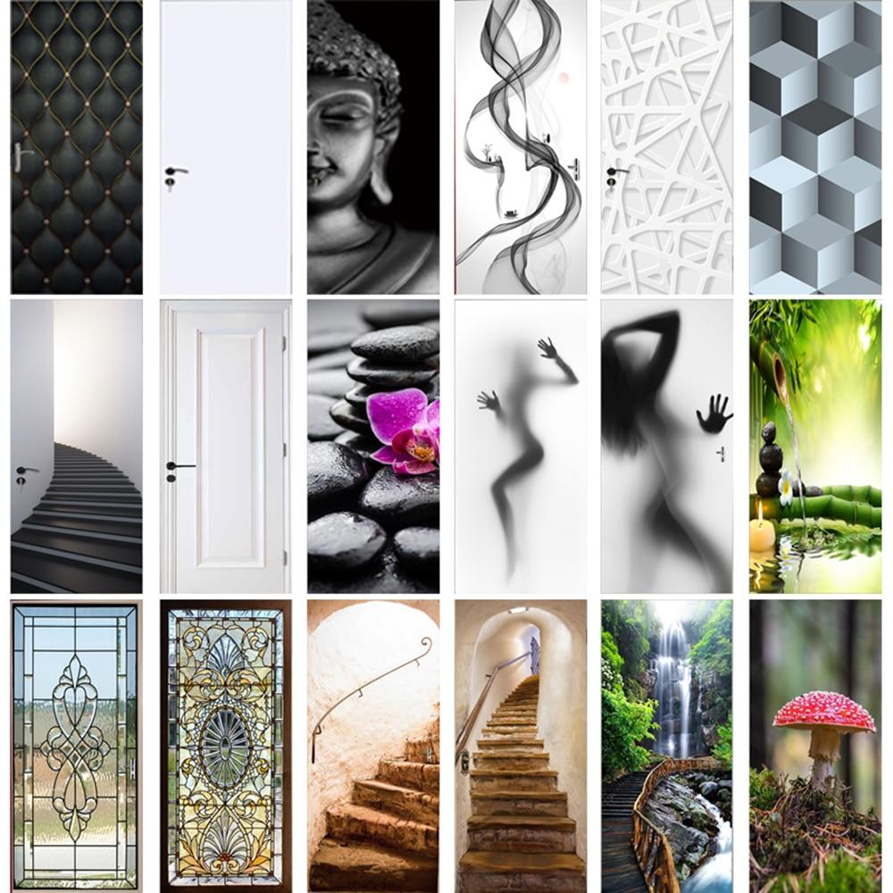 Modern Geometric Door Sticker Self Adhesive Vinyl Retro Stair Pattern Wall Sticker Waterproof Natural Scenery Home Decor Decal