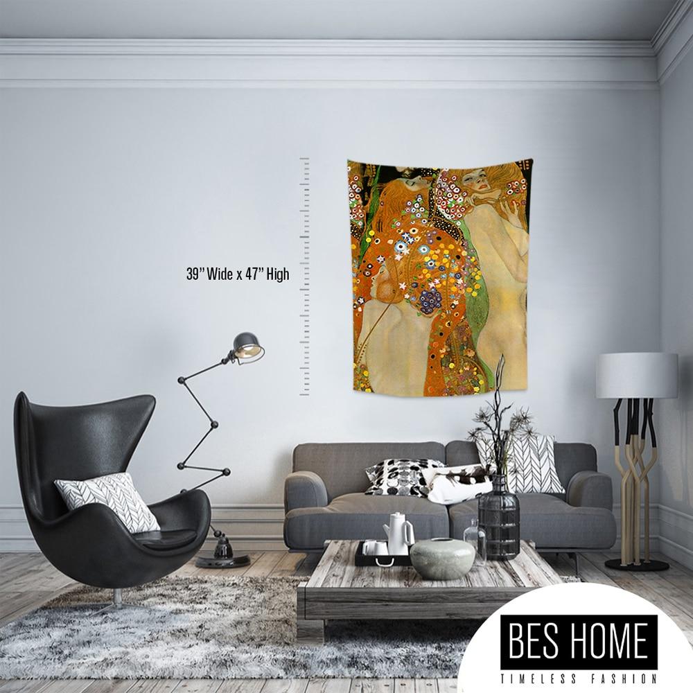 Gustav Klimt-водные пробежки, тканевые настенные вешалки, гобелены, текстильные настенные вешалки, украшения стен, гобелены