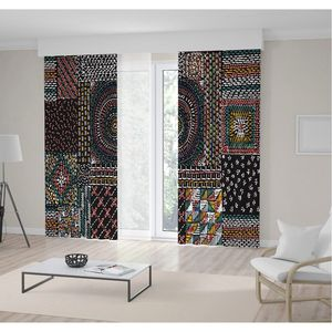 Curtain Quilting Patchwork with Ethnic Patterns Embroidery Vintage Style Design Green Yellow Blue Black Colored