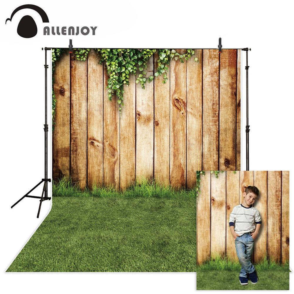 Allenjoy photographie décors pâques herbe lierre parc mur en bois printemps fond pour photo studio photocall photophone fond