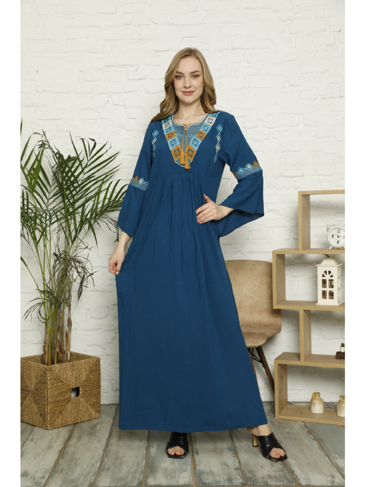 Laila New Season 2021 Spring and Summer Tassel and Intense Embroidery Detail Drop Collar Three Quarter Sleeve Long Woven Dress drop shoulder flower embroidery tassel tie dress