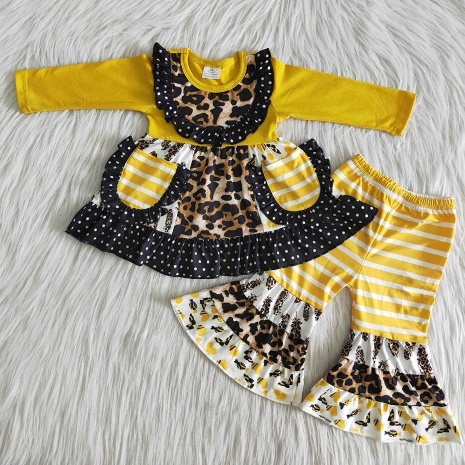 Rts roupas de bebê moda manga longa bolso design meninas crianças boutique leopardo selvagem conjuntos roupas sino