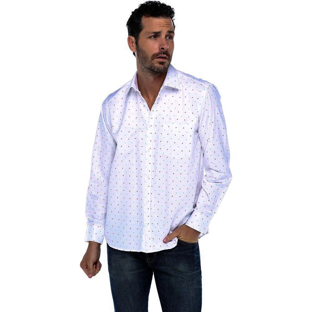 Camisa de hombre Varetta Potka Dot rojo verde camisa blanca camisas casuales para hombre camisas de manga larga regulares camisas de algodón para hombres
