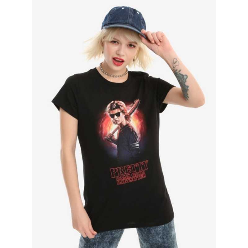 Offre Spéciale femmes mode T-Shirt étranger choses BYSITTER STEVE filles T-SHIRT femmes coton T-Shirt chemises décontractées