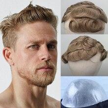 YY 가발 남자를위한 금발 인간의 머리카락 Toupee 브라질 레미 헤어 교체 시스템 8x10 피부 PU 망 Toupee 곱슬 6 인치 30mm 스타일