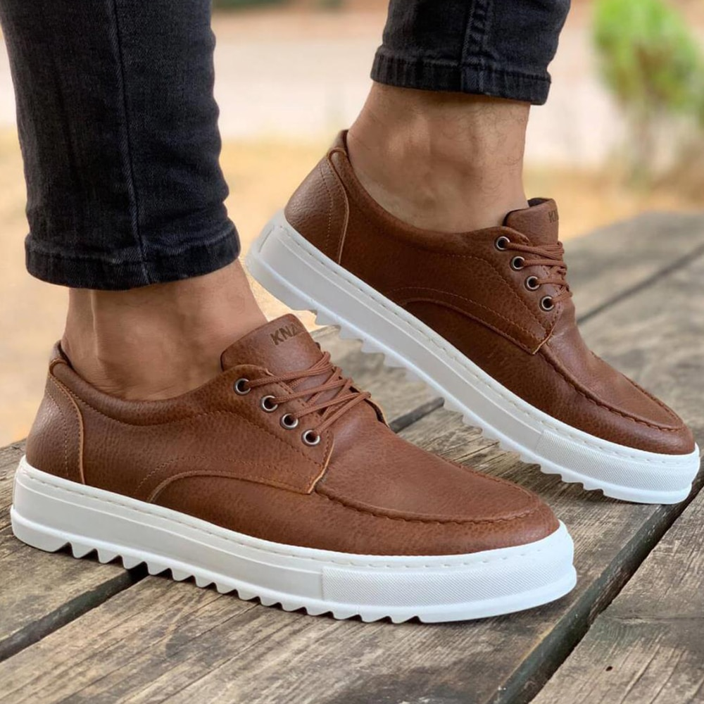 Knack Men's Shoes Tan Color Casual Shoes Lace-up Closure Non-Leather Comfortable Lighted Daily Sneakers Original Shoes High Quality Luxury Brand Cozy Brown Boys Shoes Basketball Shoes Men Dress Shoes Free Shipping T12