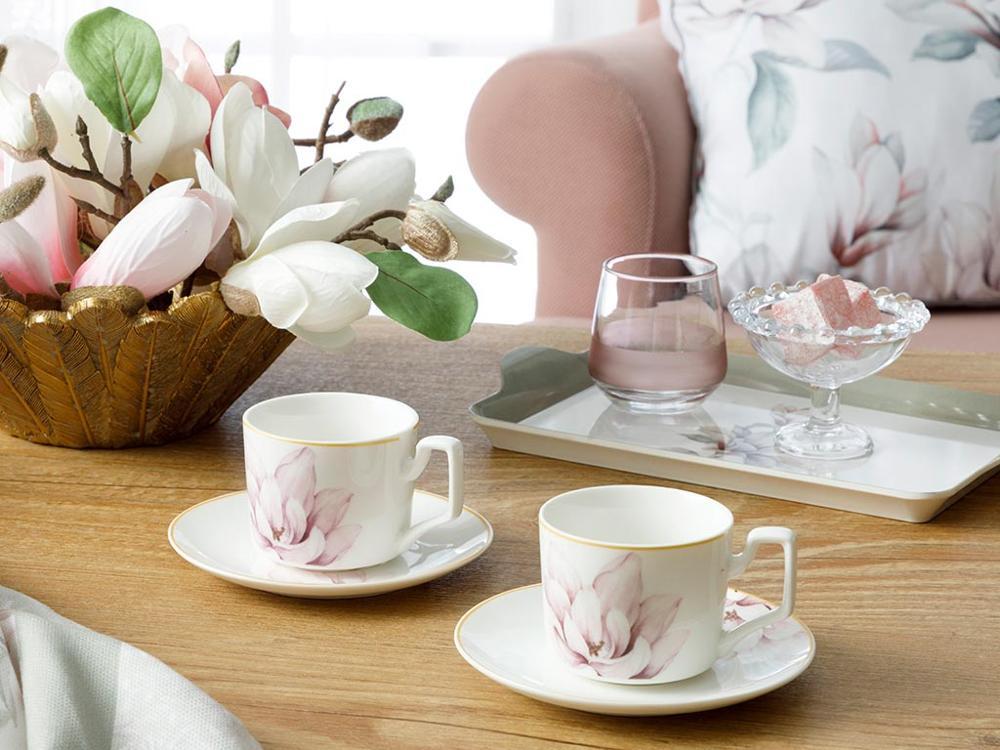 Copo de Café Magnolia Novo Osso Peça Conjunto 80 ml Rosa Estação Turquia Transporte Rápido Qualidade Durável Glamourosa Presentes Surpresa 4
