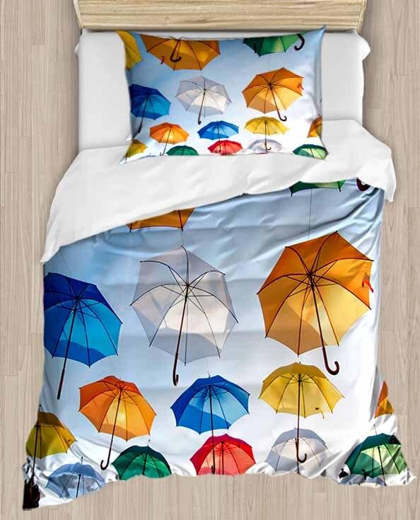 Else amarillo verde blanco Azul Rojo paraguas 4 piezas 3D estampado algodón satén único edredón conjunto de cama funda de almohada sábana