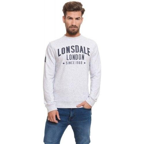 Lonsdale hombre Sudadera sin capucha color white grey melange logo estampado pecho y brazo primavera verano