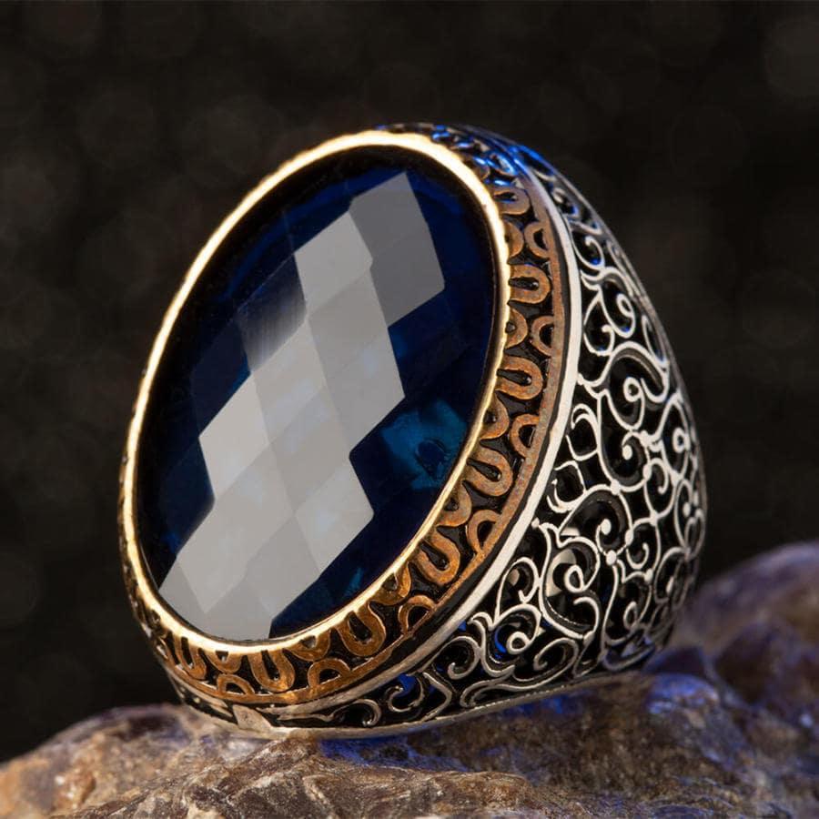 925 Sterling Silver Symmetrical Design Mens Ring with Blue Zircon Stone Fashion Turkish Premium Quality Handmade Jawelery
