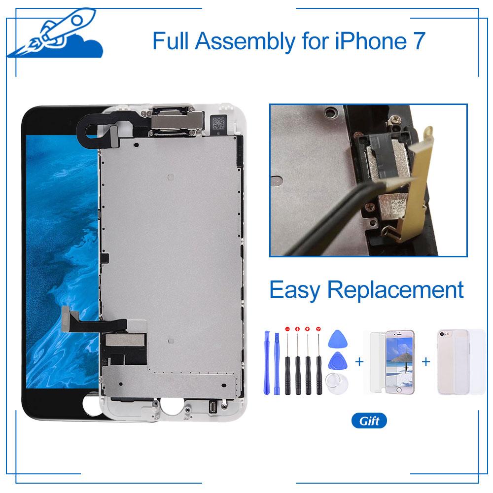 الصف AAA جودة ل فون 7 LCD شاشة عرض تعمل باللمس محول الأرقام الجمعية كاملة + إطار + كاميرا أمامية + أدوات اختبار واحدا تلو الآخر