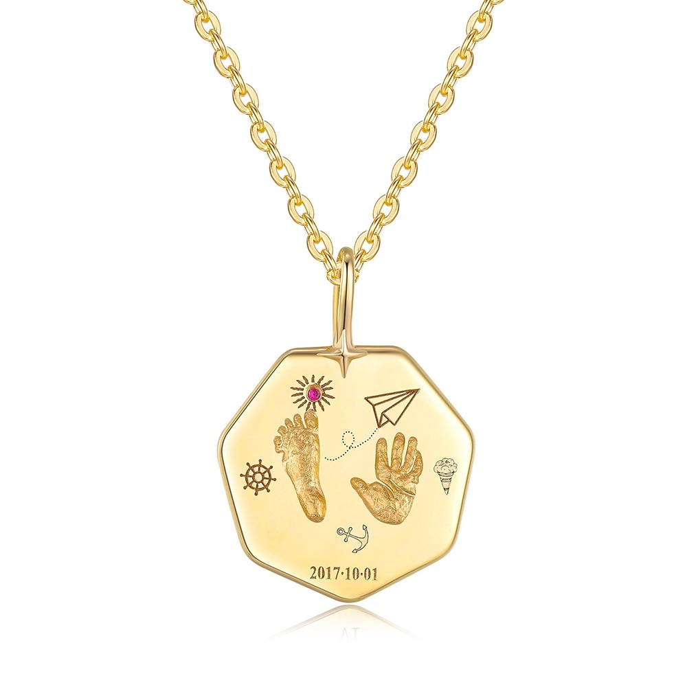 18K Gold Baby Custom Made Heptagon Handprints Footprint Necklace