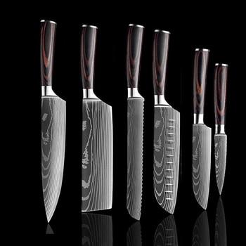 SANLEPUS Chef knife 6 PCS Set Kitchen Knives Laser Damascus Pattern Sharp Japanese Santoku Knife Cleaver Slicing Utility Knife