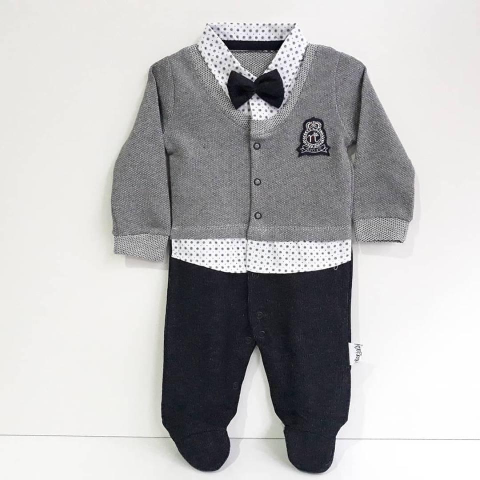 Lux Crested Papyonlu mono gris para bebés y bebés, peleles de algodón, ropa infantil, ropa de otoño, ropa para recién nacidos
