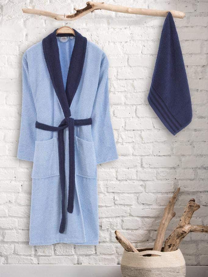 عالية الجودة الأزرق الداكن الأزرق الرجال رداء مجموعات الرجال bathrobe الأزرق الداكن أنيق أنيق الحديثة الرجال bathrobe منشفة