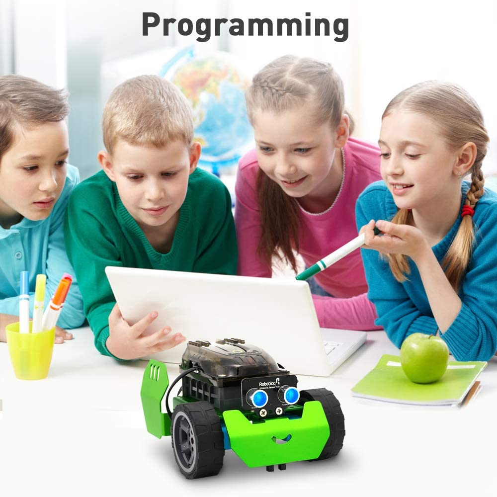 Robobloq STEM Metal Q-Scout Robot Mechanic Kit with Remote Control, Line Tracking, Ultrasonic Sensor, Music Playing for Kids Pro enlarge