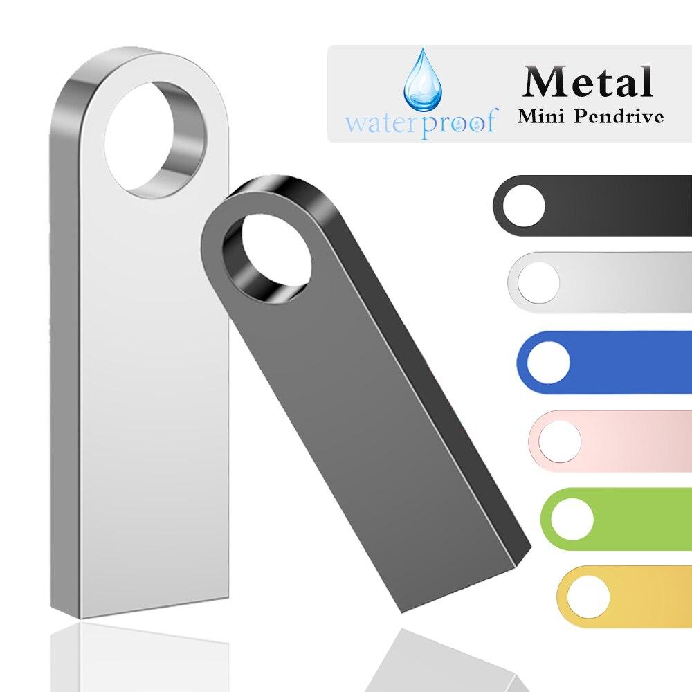 Mini Cle Usb Flash Drives 128GB Metal Waterproof Pendrive 64GB 32GB Silver Pen Drive 16GB 8GB Memoria Usb 2.0 Stick Custom Logo
