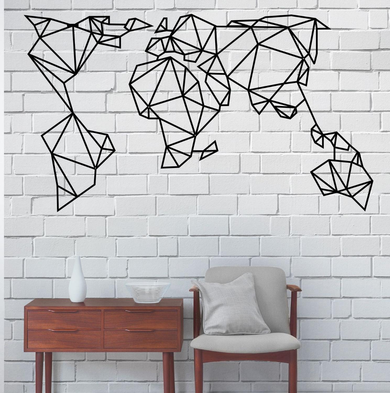 Metal geométrica mundo mapa arte de pared de Metal de mundo mapa arte de pared de decoración de interiores de Oficina Decoración