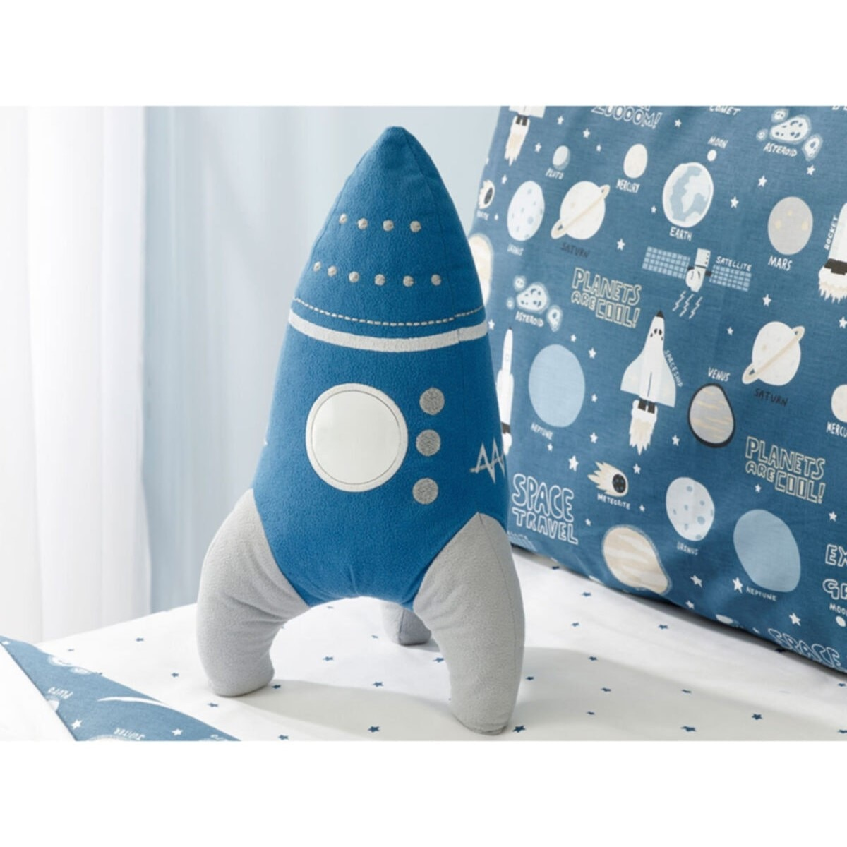 Blue Space Decorative Cushion Rocket Kids baby adult car home lovely lovely cute new pillow cover antibacterial stain resistant