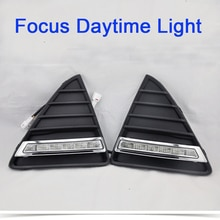 ECAHAYAKU Daytime Running Light Kits Turn signal Fog Lamp Hole Cover Lamp Car-styling 12V LED DRL for Ford Focus 2012 2013 2014