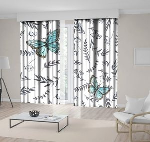 Curtain Butterflies and Branches with Flowers Leaves Monochrome Watercolor Floral Artwork Blue Gray