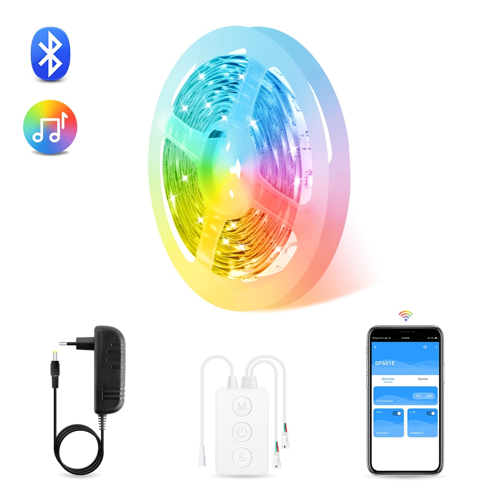 LED قطاع أضواء RGB-IC App بلوتوث التحكم ، Dreamcolor الموسيقى مزامنة Led أضواء للغرفة ، غرفة نوم ، المطبخ ، زينة عيد الميلاد