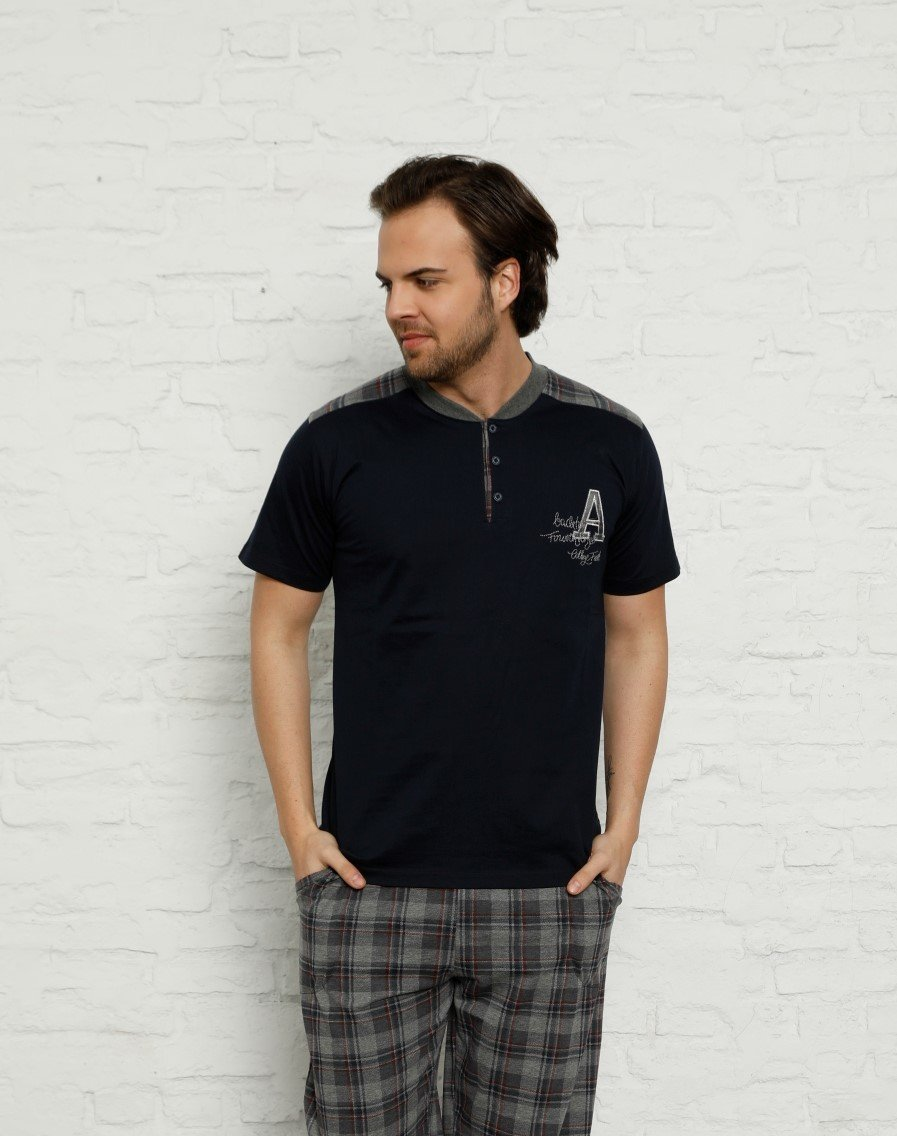 New Summer Spring Men 'S Pajamas Sets Short Sleeve Plaid Sleepwear Pajamas Suit Homewear Overnight Dressing Gown