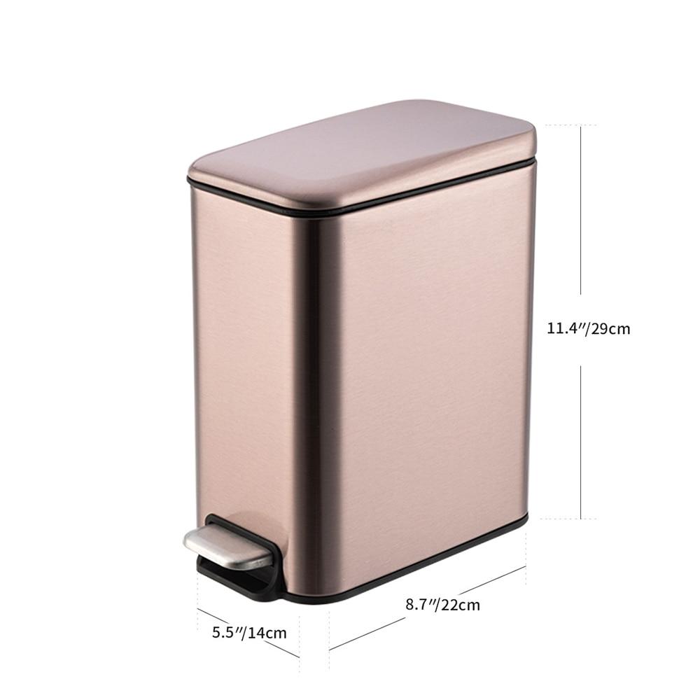 Stainless Steel Trash Bin Rectange 5L Kitchen Trash Can Dustbin Garbage Bag Holder Wastebin Bathroom Step Bin enlarge