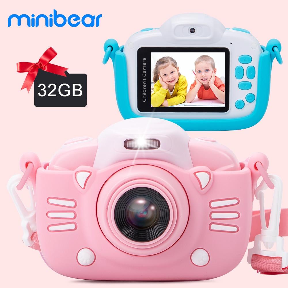 Minibear الأطفال كاميرا للأطفال كاميرا رقمية للأطفال 1080P HD لعبة كاميرا فيديو للأطفال هدية عيد ميلاد للبنين فتاة