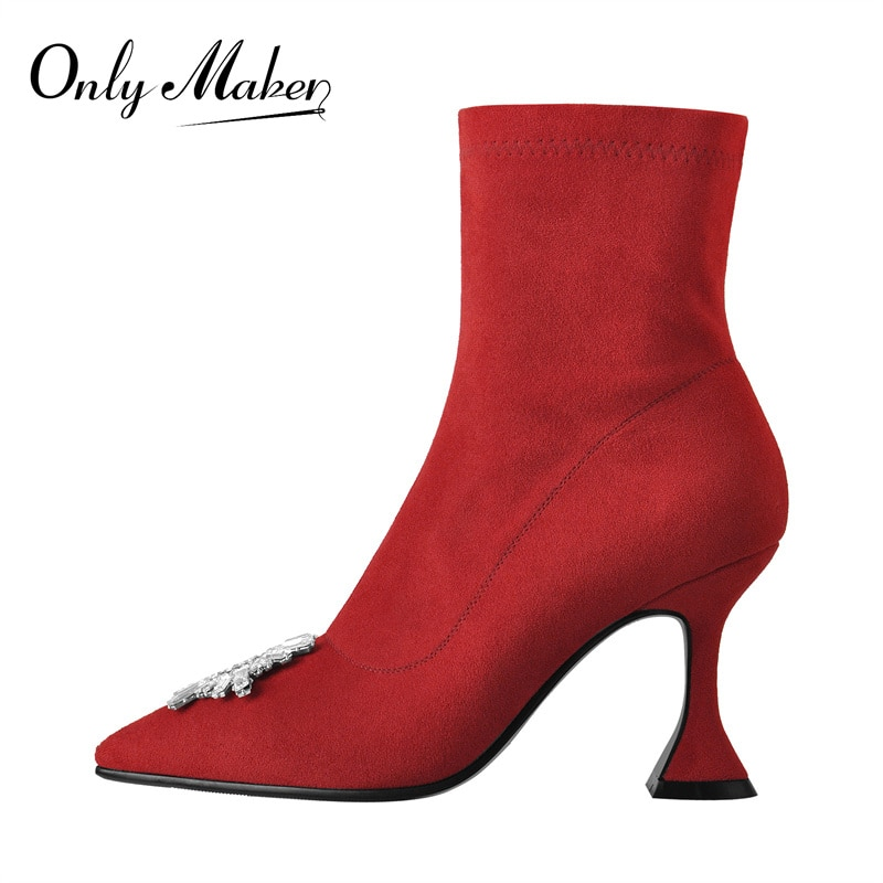 Onlymaker Women's Ankle Booties Geometric Metal Decoration Pointed Toe Red Flock High Kitten Heels Shoes Fashion