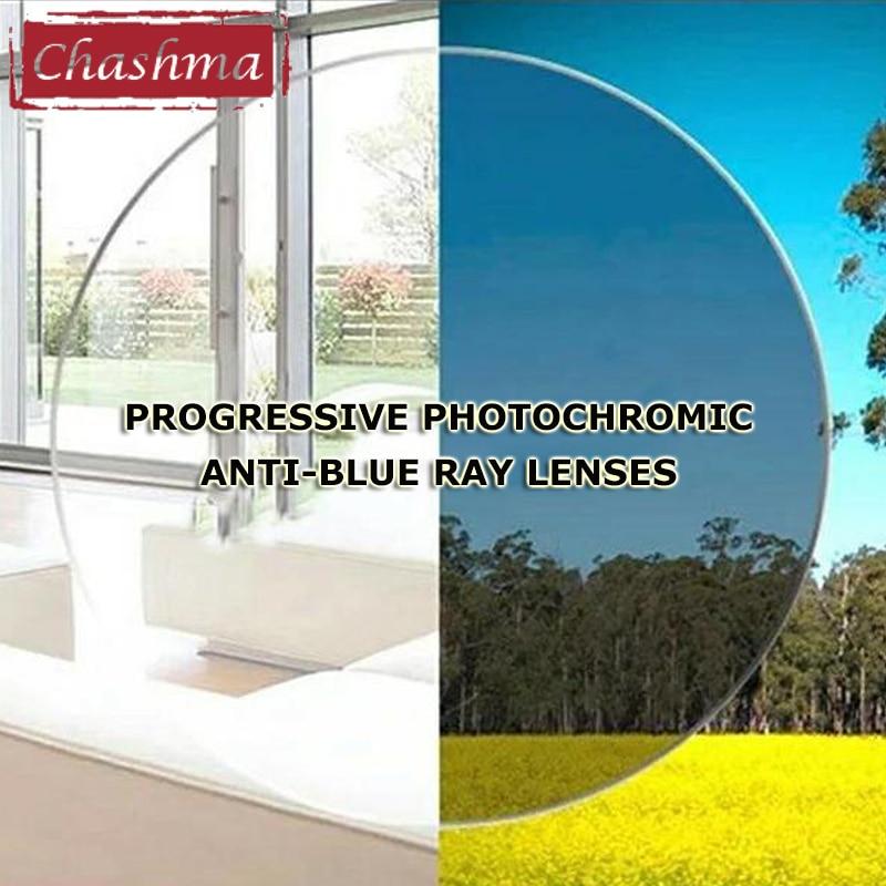 Digital Anti  Blue Ray Progressive Photochromic Lenses Free Form Wide Field Chameleon Lens Dark Sunglasses Close and Far