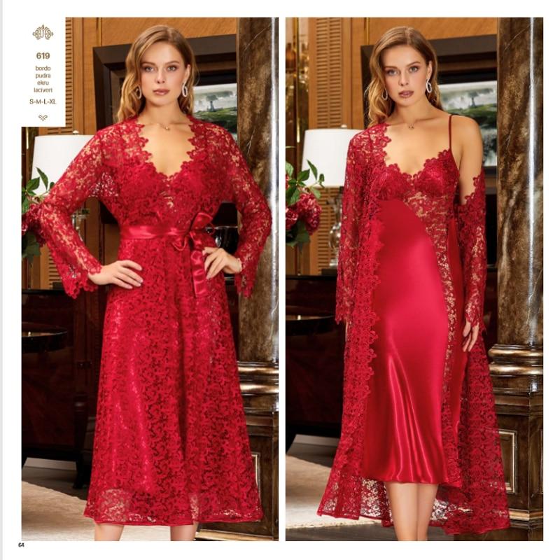 JEREMI 619 6 Pieces Satin Silky Touch Sets Women Bride Trousseau Dowry Sexy Lace Robe Sleepwear Nightwear Pyjama Gift Turkish