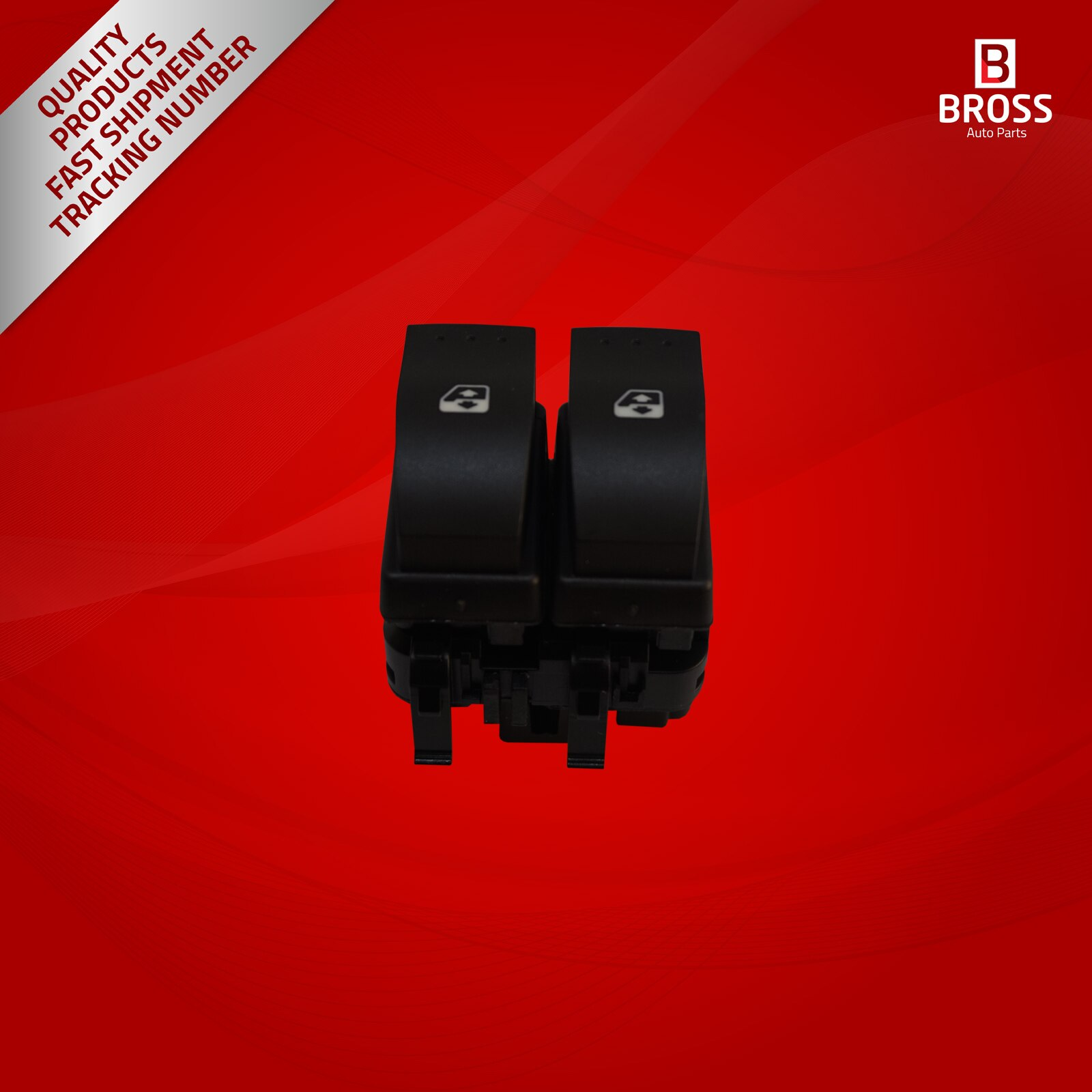 Bross Auto Parts BDP848 Window Control Double Switch 10-Pin 8200060045 BLACK Color for Clio MK2-MK3 1998-2014 Made in Turkey