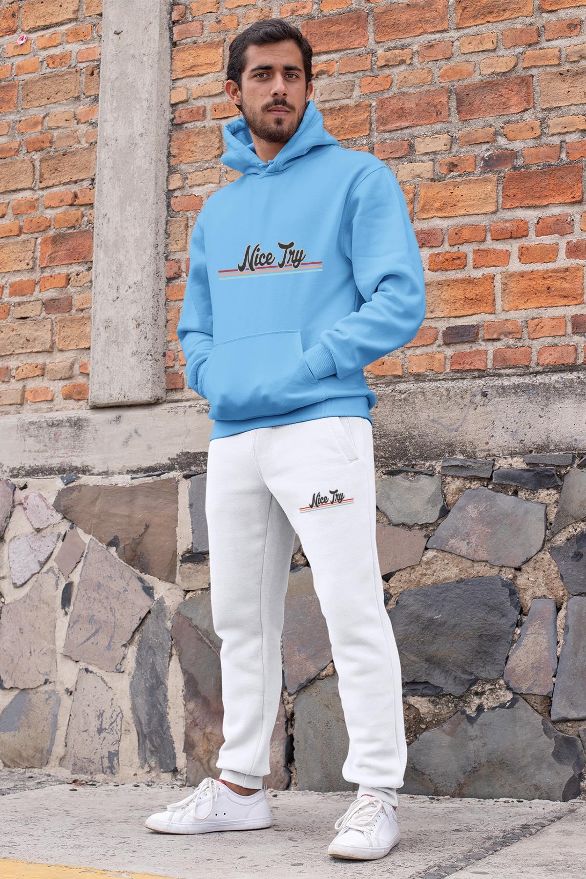 Angemiel wear agradável tentar conjunto de treino dos homens azul com capuz moletom branco sweatpants