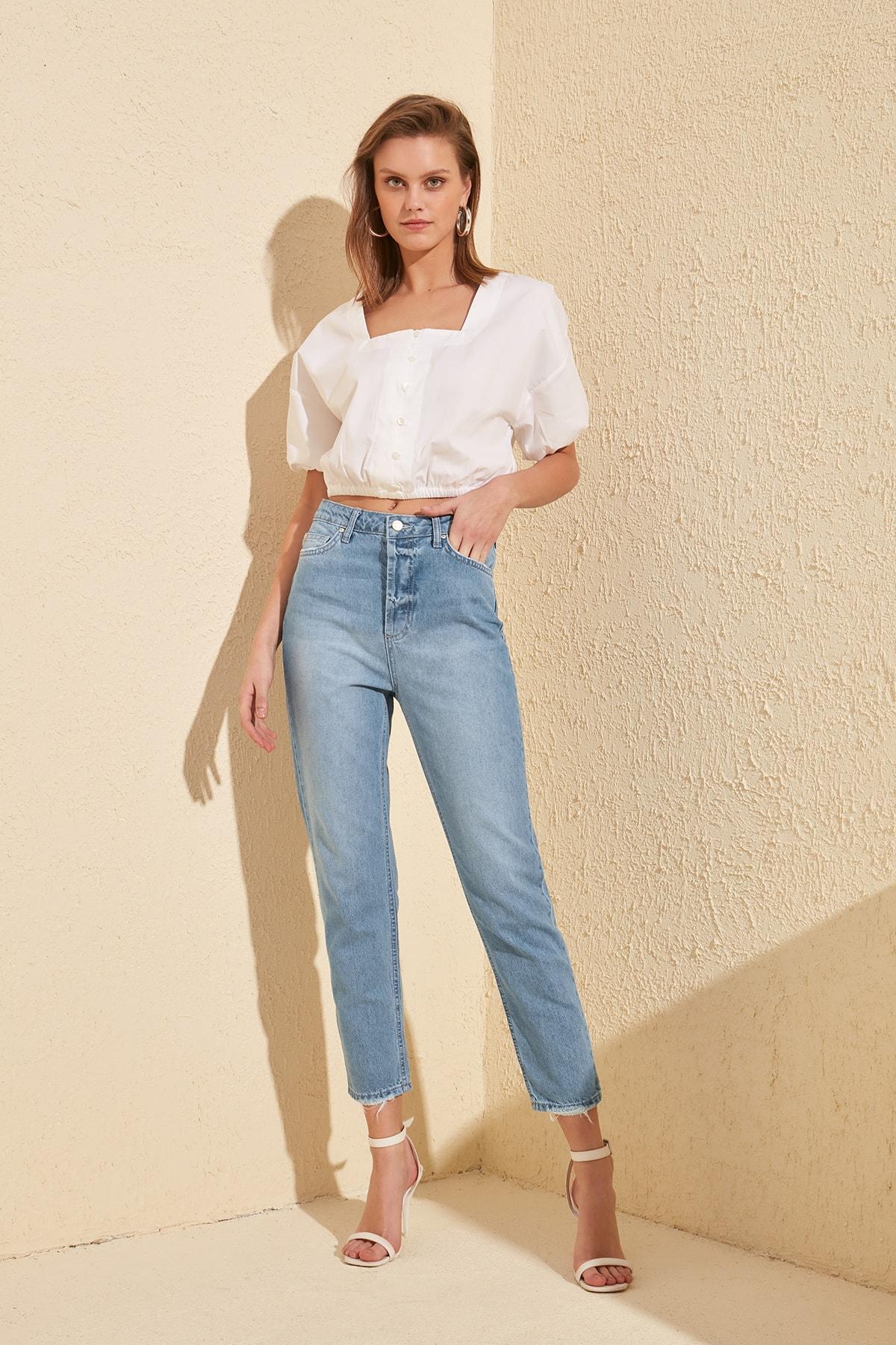 Trendyol alta Bel mamá Jeans TWOSS20JE0169