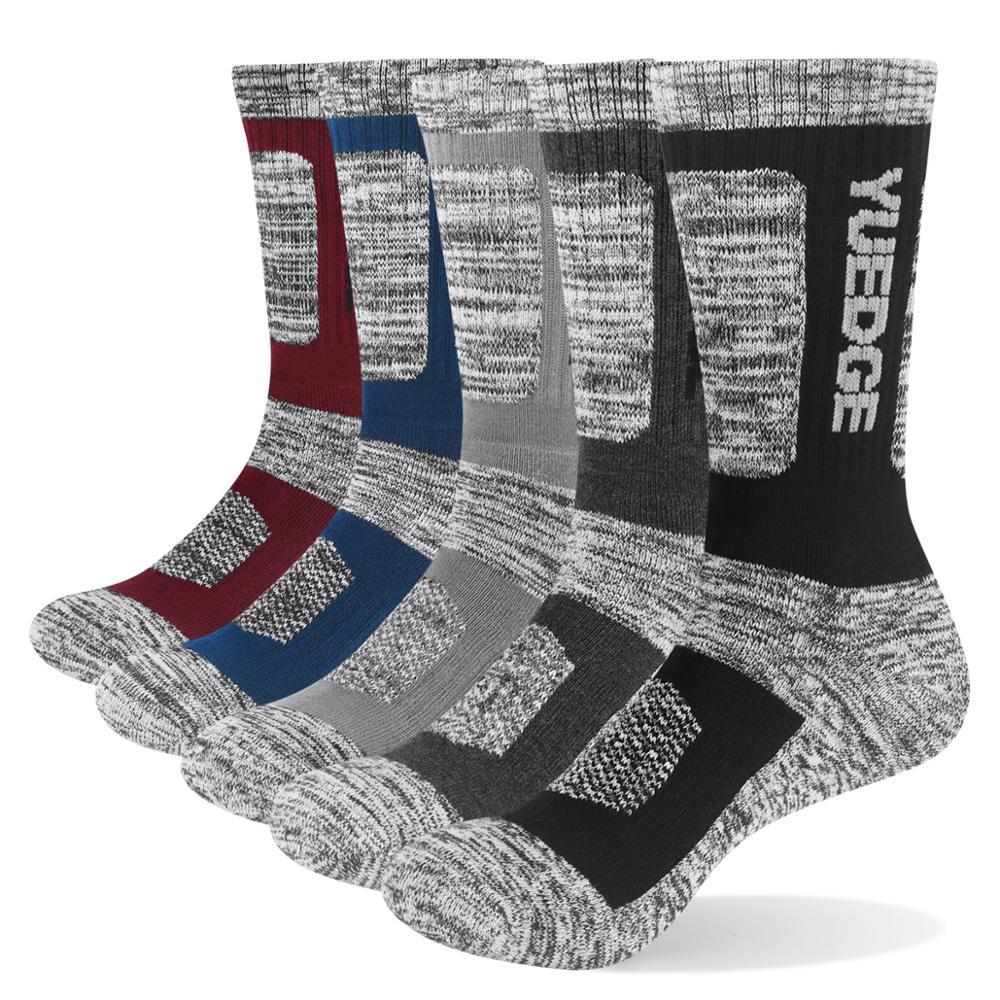 YUEDGE Men's Socks Cotton Cushion Casual Crew Socks Thick Winter Warm Thermal Socks For Men 5 Paris